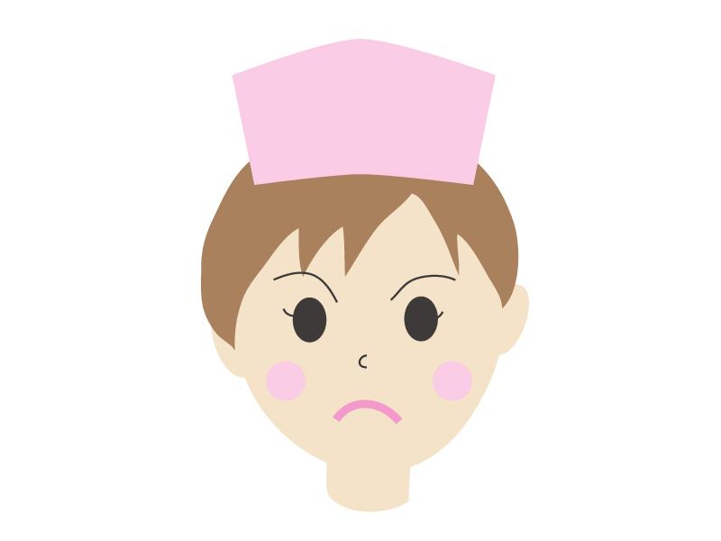 怒っている顔の女性の看護師さんのイラスト