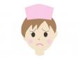 困っている表情の女性の看護師さんのイラスト