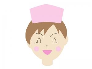 笑顔で喜んでいる表情の女性の看護師さんのイラスト