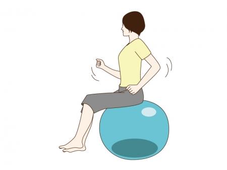 バランスボールでエクササイズをする女性のイラスト