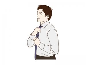 ネクタイを締める男性のイラスト