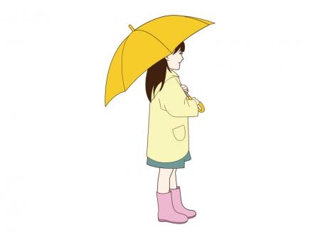 黄色い傘をさしている女の子のイラスト