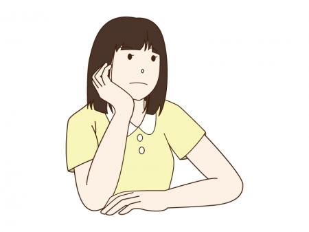 頬杖をついている女の子のイラスト