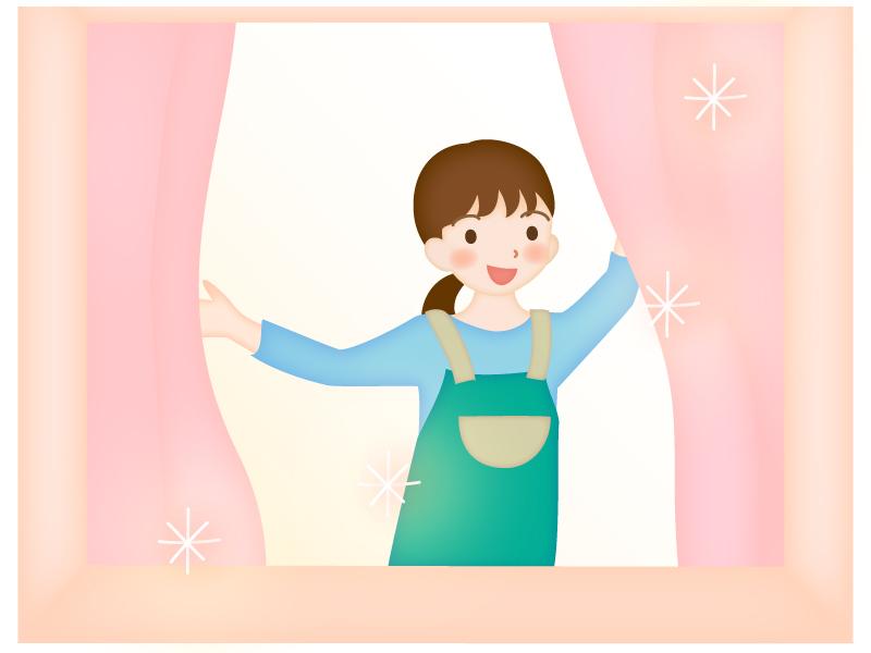 カーテンを開けるママのイラスト