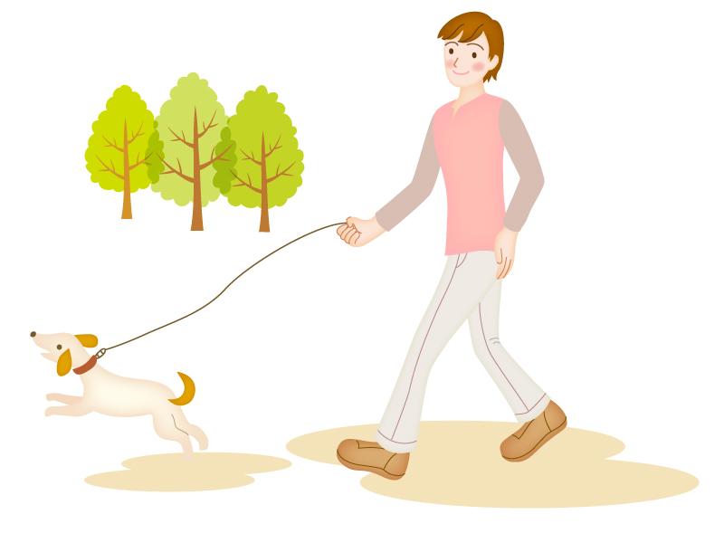 犬の散歩をする男性のイラスト