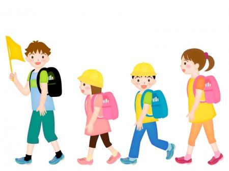 小学生の集団登校のイラスト