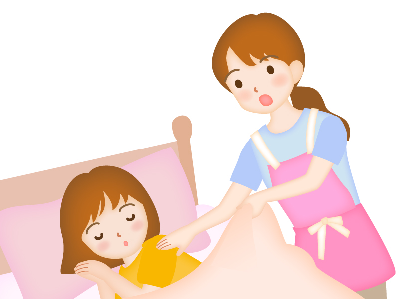 寝ている子どもを起こすお母さんのイラスト