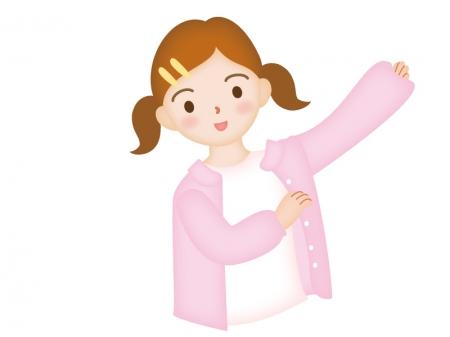着替える女の子のイラスト
