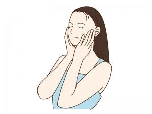 お化粧の準備をしている女性のイラスト