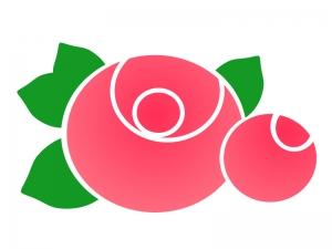 ポップなタッチの赤いバラのイラスト