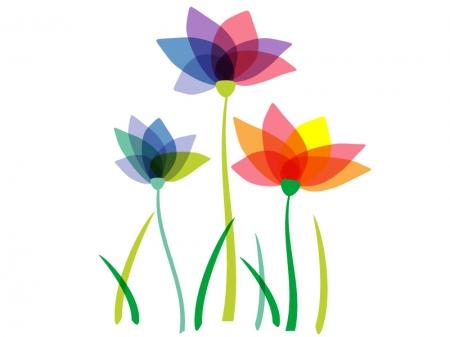 カラフルな三輪の小花のイラスト
