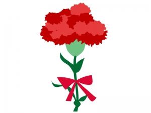 赤いカーネーションの花束のイラスト