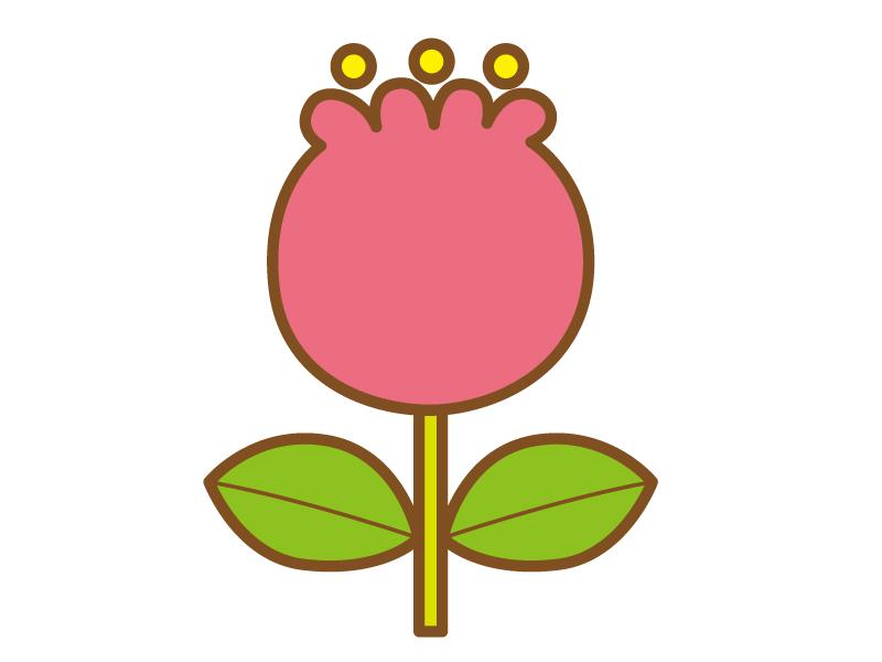 ピンク色のポップなタッチのチューリップのイラスト