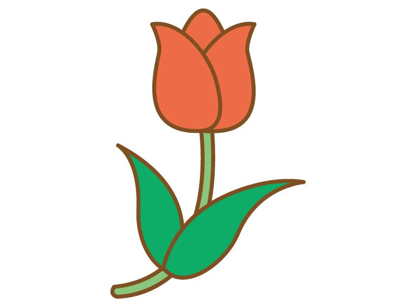 シンプルな赤色のチューリップのイラスト