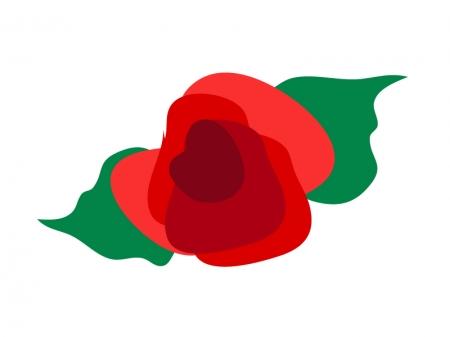 シンプルな赤いバラのイラスト