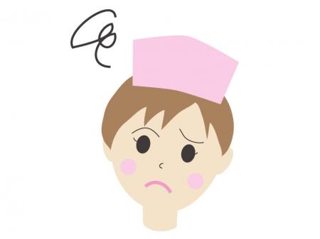 問題が解決しない表情の女性の看護師さんのイラスト