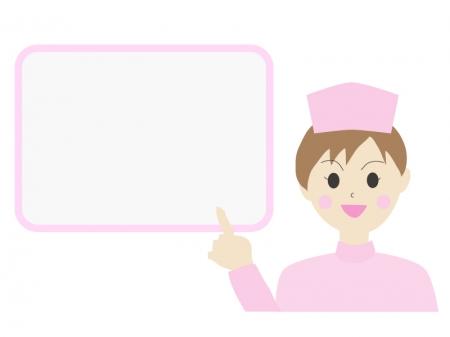 伝言板と女性の看護師さんのイラスト