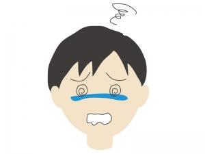 めまいをしている男性のイラスト