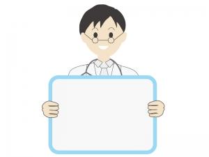 伝言板と若い男性の医師のイラスト
