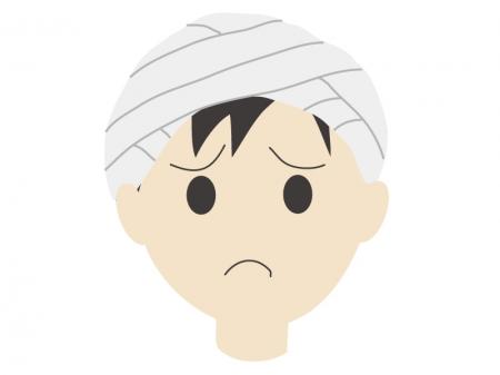 頭に怪我をして包帯を巻いている男性のイラスト