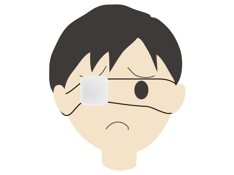 眼帯をして困っている男性のイラスト