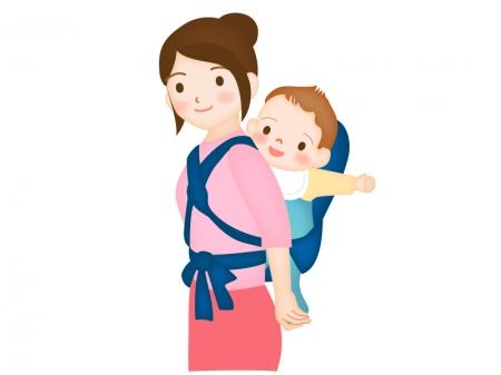 赤ちゃんをおんぶするお母さんのイラスト