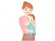 お母さんが赤ちゃんをだっこしているイラスト