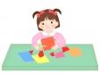はさみを使う園児のイラスト