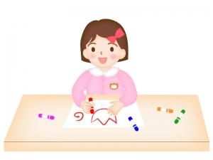 お絵描きをする園児のイラスト