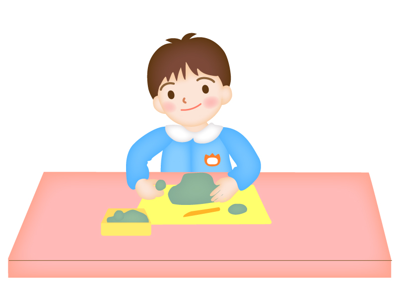 ねんど遊びをする園児のイラスト