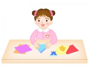 折り紙をする園児のイラスト