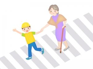 横断歩道を渡るお年寄りのイラスト