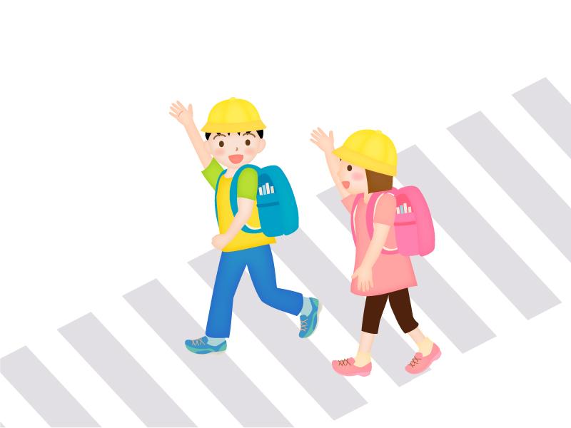 横断歩道を渡る子どものイラスト