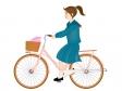 自転車で通学する女子高生のイラスト