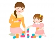 積み木をするママと幼児のイラスト