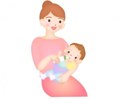 赤ちゃんにミルクをあげるママのイラスト
