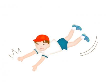 転ぶ男の子のイラスト