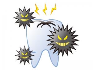虫歯菌が歯を痛くしているイメージのイラスト