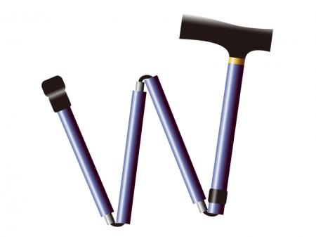 折りたたみ式の杖(ステッキ)のイラスト