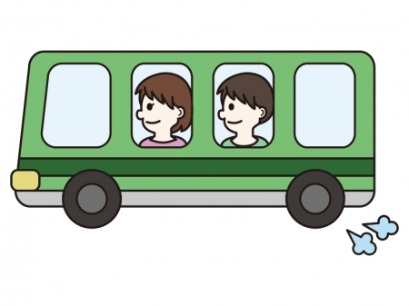 バスに乗る人々のイラスト