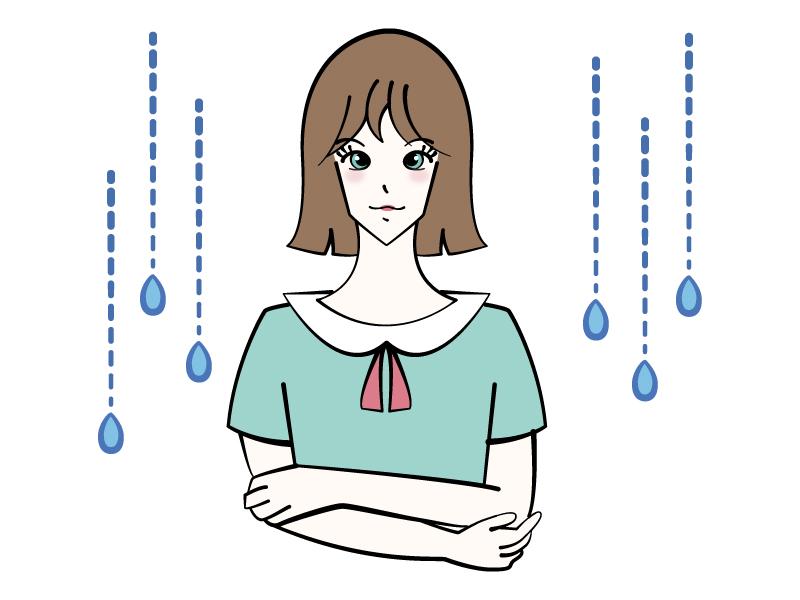 雨模様と女性のイラスト
