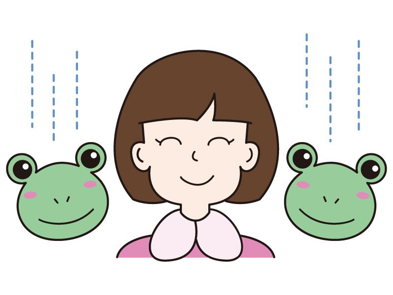 カエルと女の子のイラスト