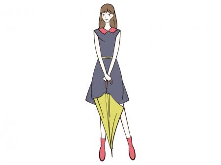 傘を持つ女性のイラスト