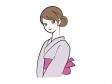 浴衣を着て微笑む女性のイラスト