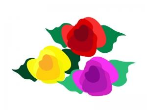 三色のバラのイラスト