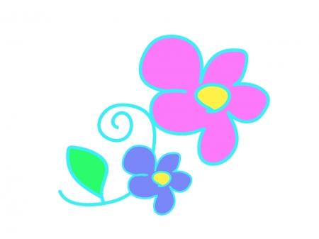 ツタと花の模様のイラスト