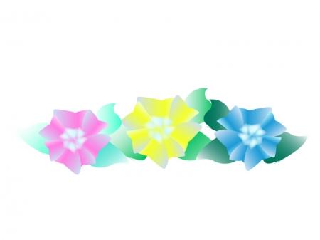 横に並んだ三色(ピンク色、黄色、青色)の紫陽花のイラスト
