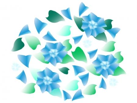 たくさんの青い紫陽花のイラスト