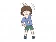 ラジオ体操をする少年のイラスト