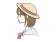 帽子をかぶった女性の横顔のイラスト